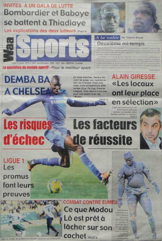 A la Une du Journal Waa Sports du lundi 14 janvier 2013