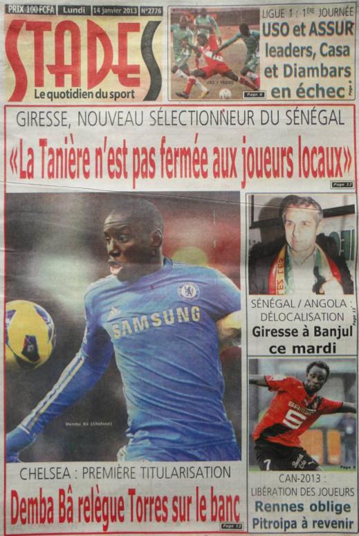 A la Une du Journal Stades du lundi 14 janvier 2013