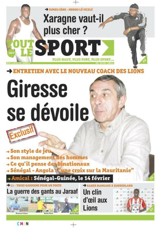 A la Une du Journal Tout Le Sport du mardi 15 janvier 2013