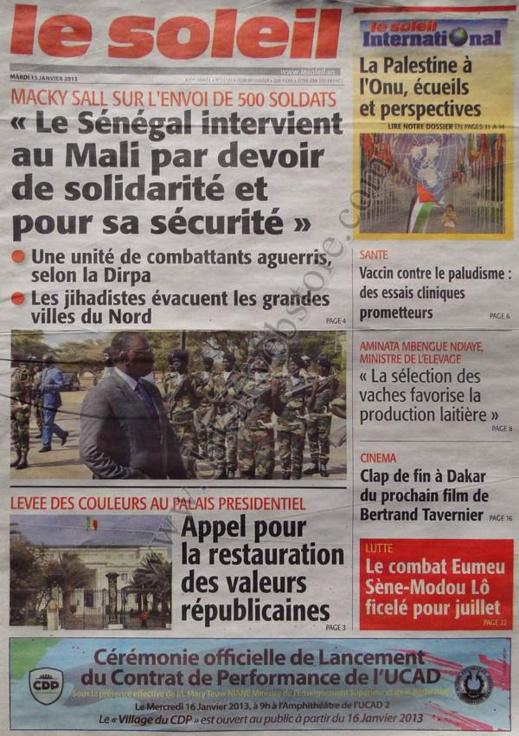 A la Une du Journal Le Soleil du mardi 15 janvier 2013