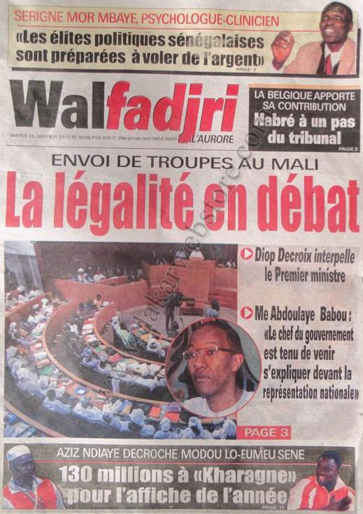 A la Une du Journal Walfadjri du mardi 15 janvier 2013