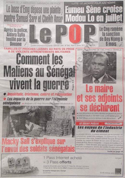 A la Une du Journal Le Populaire du mardi 15 janvier 2013