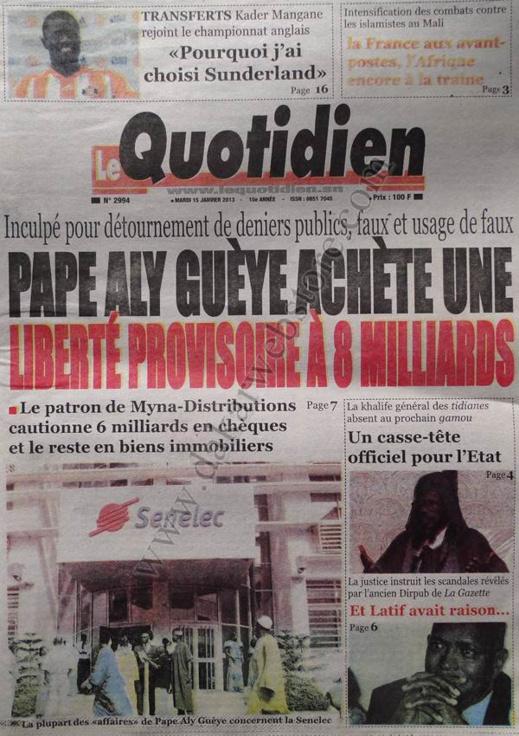 A la Une du Journal Le Quotidien du mardi 15 janvier 2013