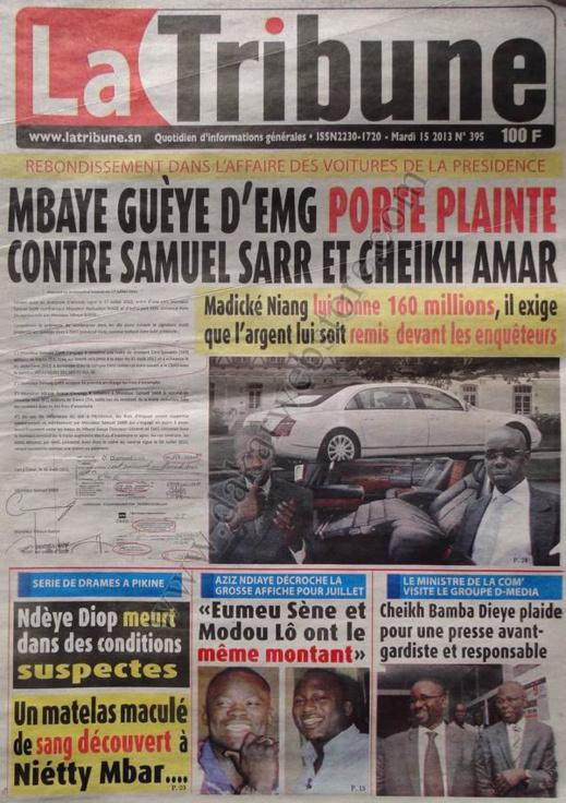 A la Une du Journal La Tribune du mardi 15 janvier 2013
