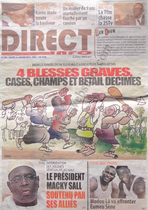 A la Une du Journal Direct Info du mardi 15 janvier 2013