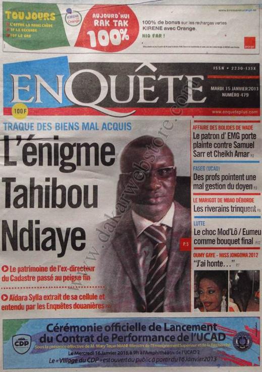 A la Une du Journal EnQuête du mardi 15 janvier 2013