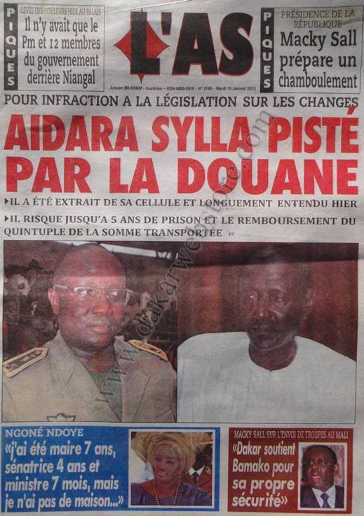 A la Une du Journal L'As du mardi 15 janvier 2013