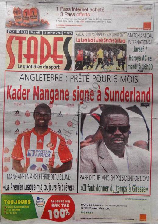 A la Une du Journal Stades du mardi 15 janvier 2013