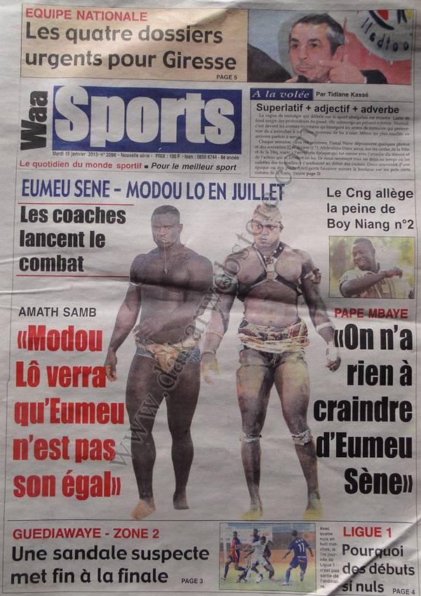 A la Une du Journal Waa Sports du mardi 15 janvier 2013