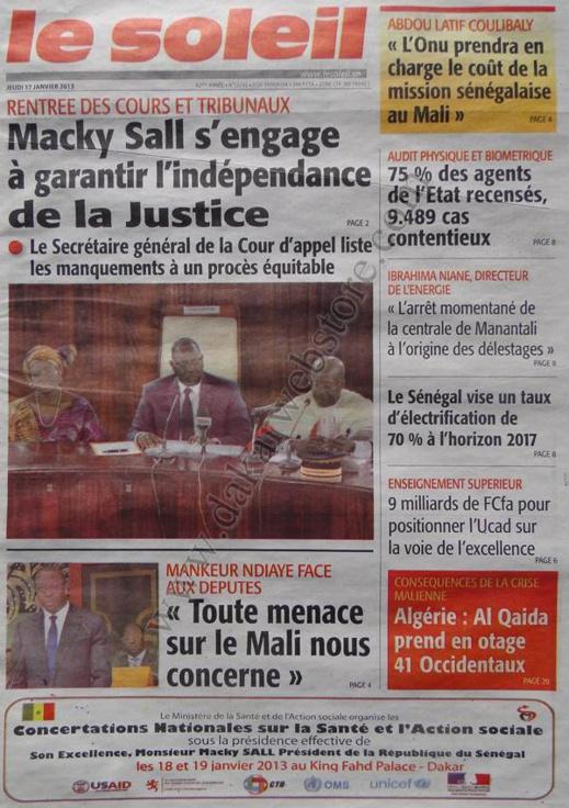 A la Une du Journal Le Soleil du jeudi 17 janvier 2013
