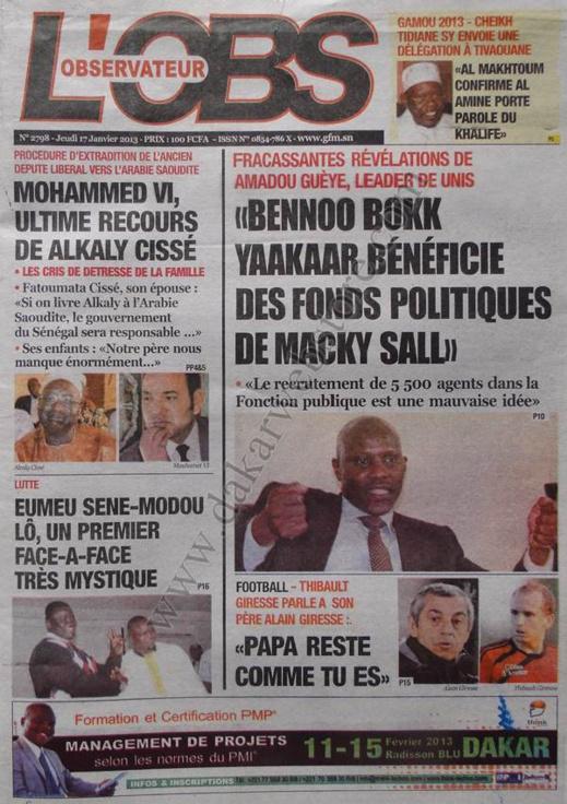 A la Une du Journal L'Observateur du jeudi 17 janvier 2013