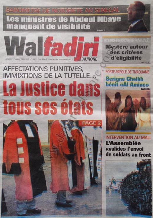 A la Une du Journal Walfadjri du jeudi 17 janvier 2013