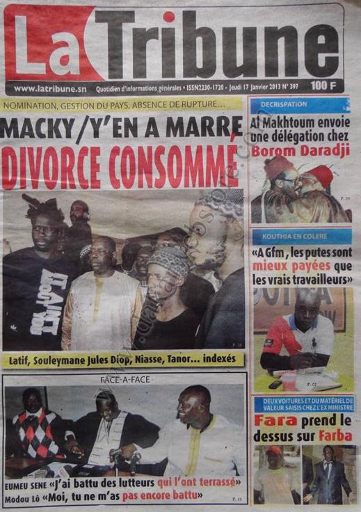 A la Une du Journal La Tribune du jeudi 17 janvier 2013