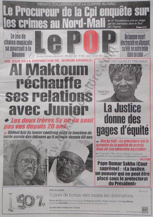A la Une du Journal Le Populaire du jeudi 17 janvier 2013