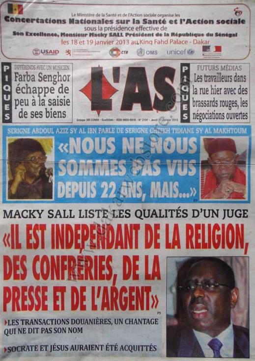 A la Une du Journal L'As du jeudi 17 janvier 2013