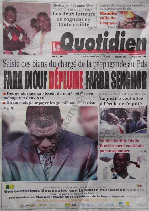 A la Une du Journal Le Quotidien du jeudi 17 janvier 2013