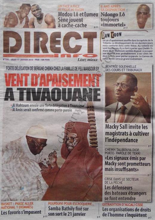 A la Une du Journal Direct Info du jeudi 17 janvier 2013