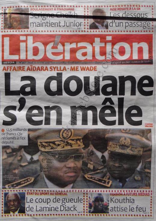 A la Une du Journal Libération du jeudi 17 janvier 2013