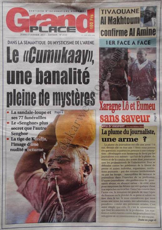 A la Une du Journal Grand Place du jeudi 17 janvier 2013