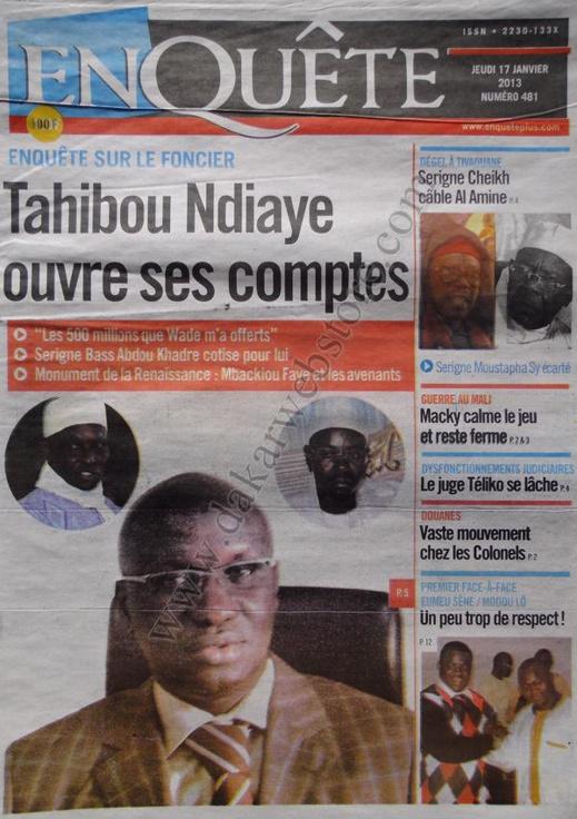 A la Une du Journal Enquête du jeudi 17 janvier 2013
