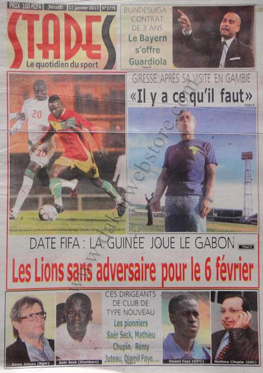A la Une du Journal Stades du jeudi 17 janvier 2013