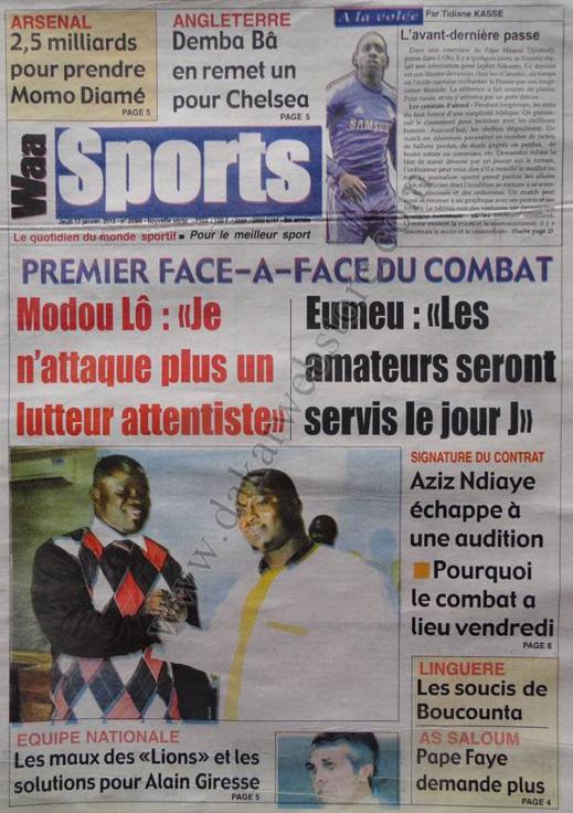 A la Une du Journal Waa Sports du jeudi 17 janvier 2013
