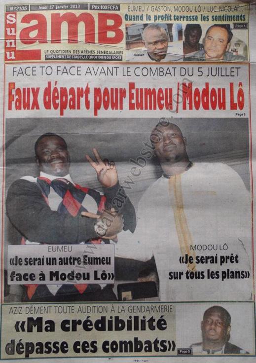 A la Une du Journal SunuLamb du jeudi 17 janvier 2013