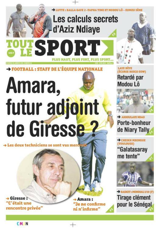 A la Une du Journal Tout Le Sport du vendredi 18 janvier 2013