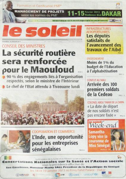 A la Une du Journal Le Soleil du vendredi 18 janvier 2013