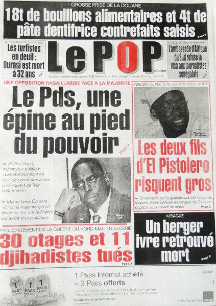 A la Une du Journal Le Populaire du vendredi 18 janvier 2013