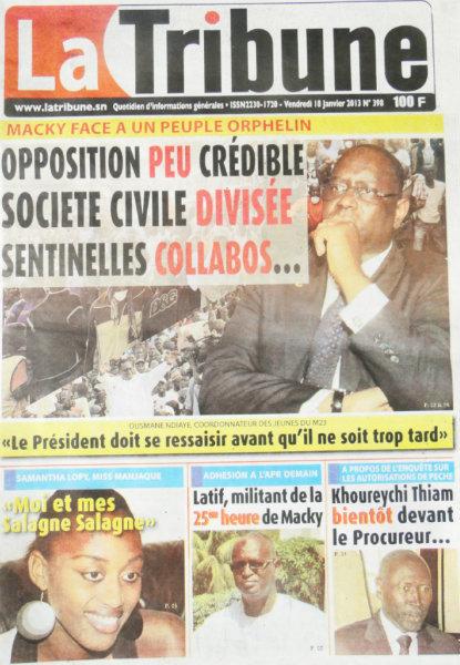 A la Une du Journal La Tribune du vendredi 18 janvier 2013