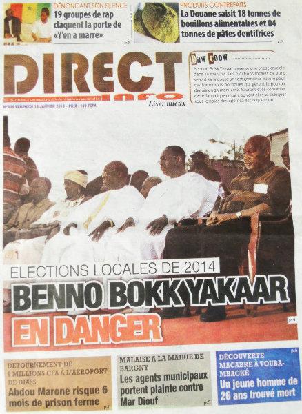 A la Une du Journal Direct Info du vendredi 18 janvier 2013
