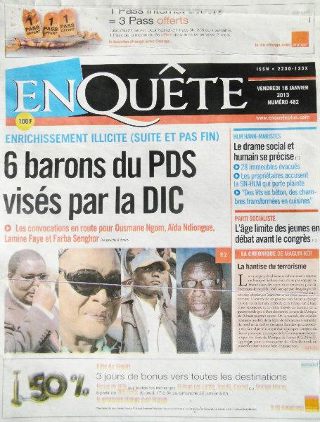A la Une du Journal EnQuête du vendredi 18 janvier 2013