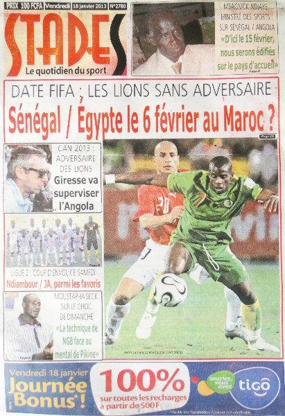 A la Une du Journal Stades du vendredi 18 janvier 2013
