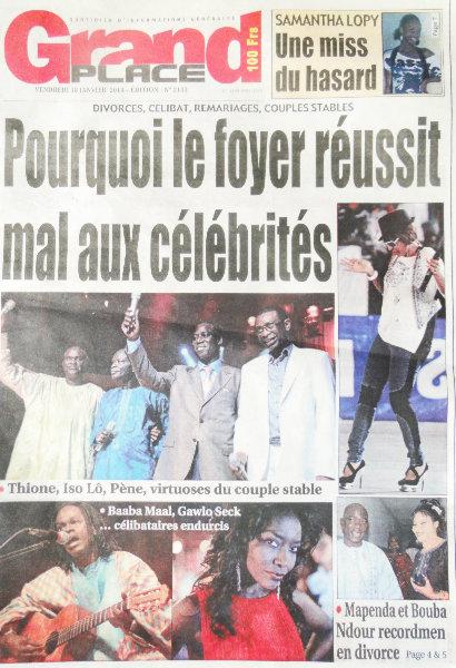 A la Une du Journal Grand Place du vendredi 18 janvier 2013