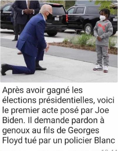 Le président américain Joe Biden à genoux devant le fils de Georges Floyd: Une fake news largement partagée