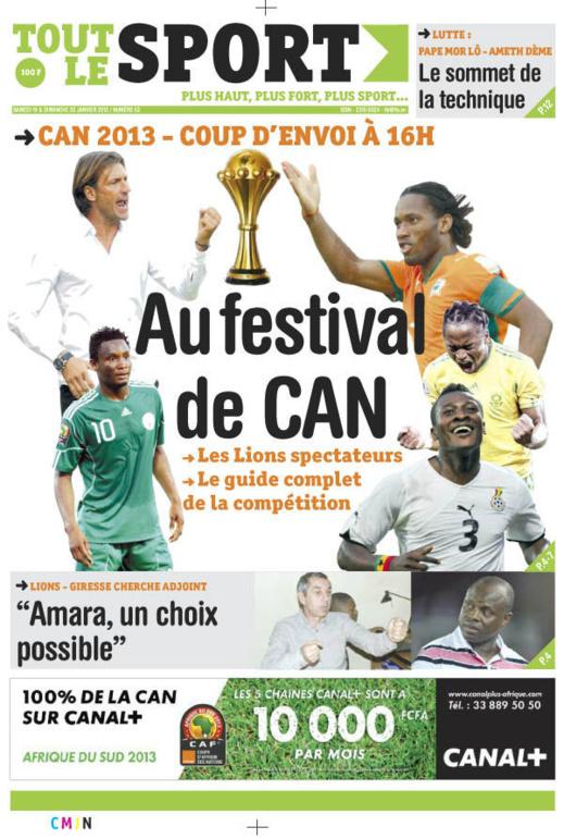 A la Une du Journal Tout Le Sport du Samedi 19 janvier 2013