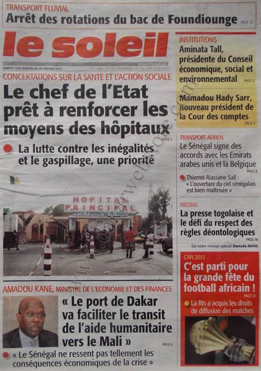 A la Une du Journal Le Soleil du Samedi 19 janvier 2013