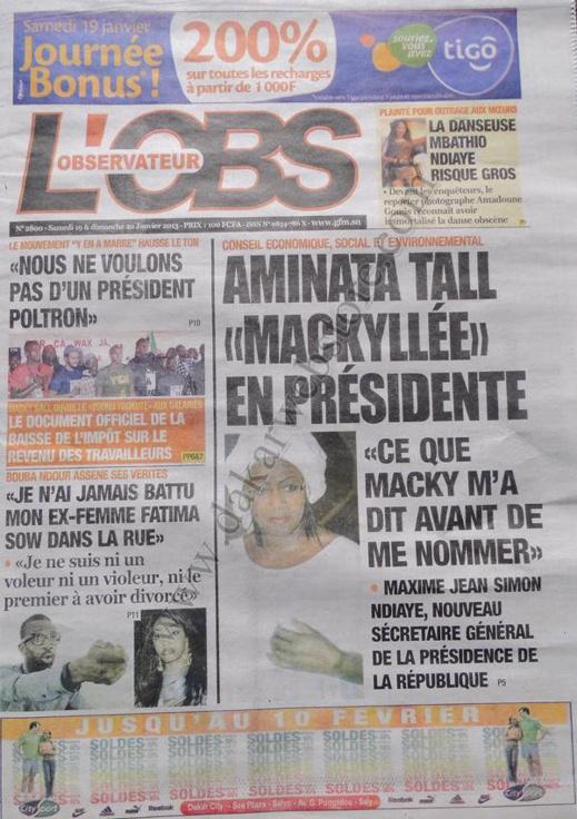 A la Une du Journal L'Observateur du Samedi 19 janvier 2013