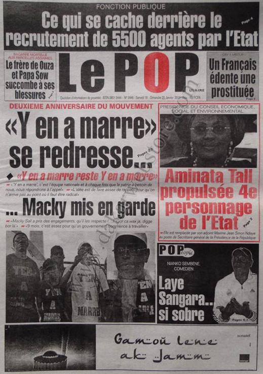 A la Une du Journal Le Populaire du Samedi 19 janvier 2013