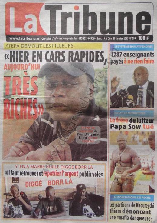 A la Une du Journal La Tribune du Samedi 19 janvier 2013