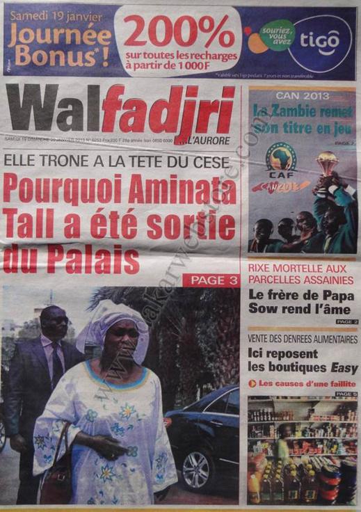 A la Une du Journal Walfadjri du Samedi 19 janvier 2013