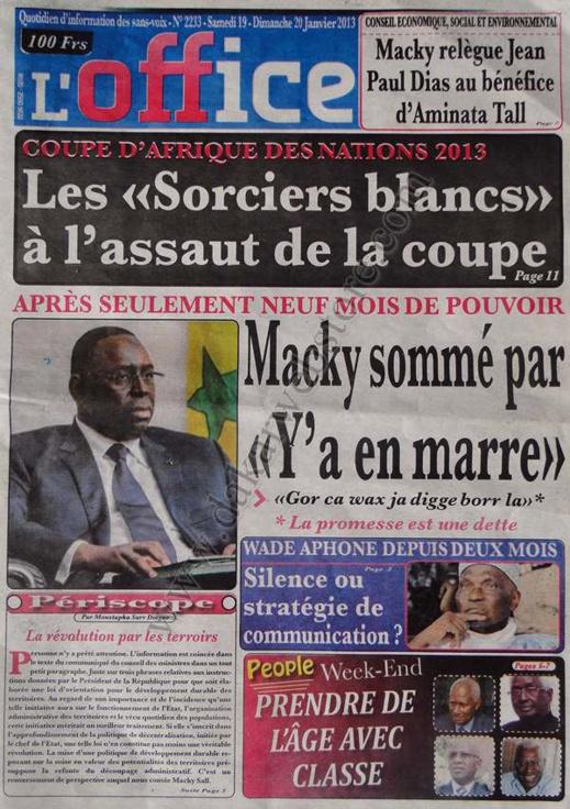 A la Une du Journal L'Office du Samedi 19 janvier 2013