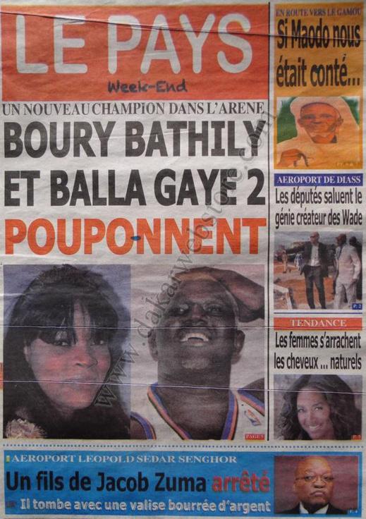 A la Une du Journal Le Pays du Samedi 19 janvier 2013