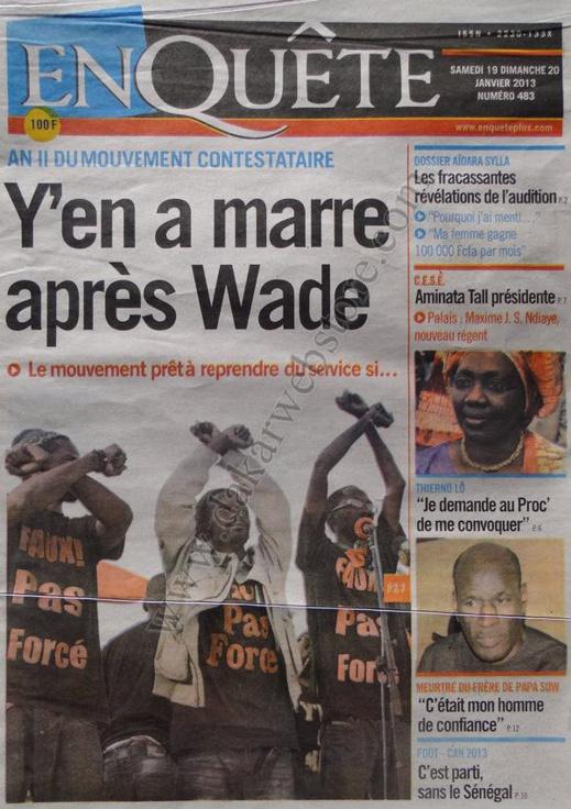 A la Une du Journal EnQuête du Samedi 19 janvier 2013