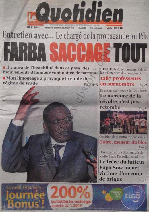A la Une du Journal Le Quotidien du Samedi 19 janvier 2013