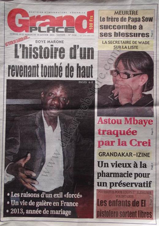 A la Une du Journal Grand Place du Samedi 19 janvier 2013
