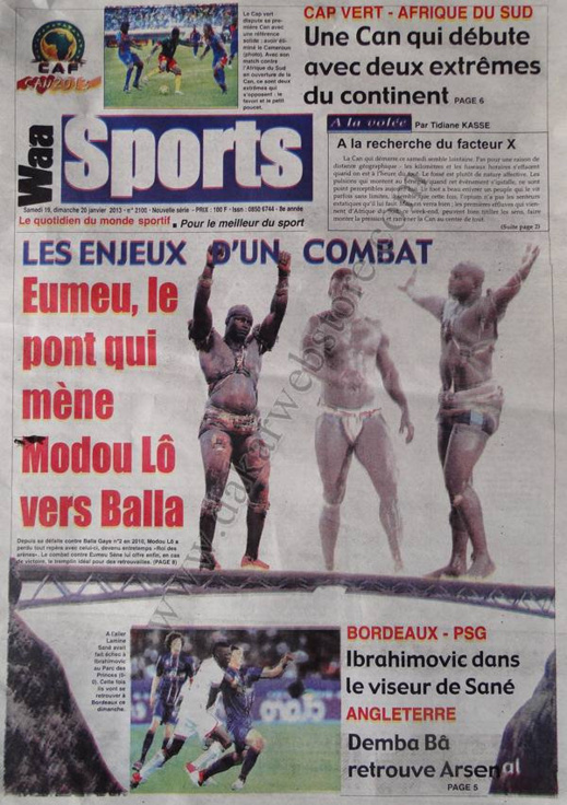 A la Une du Journal Waa Sports du Samedi 19 janvier 2013