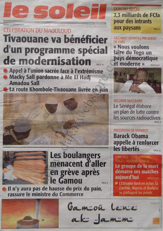 A la Une du Journal Le Soleil du mardi 22 janvier 2013