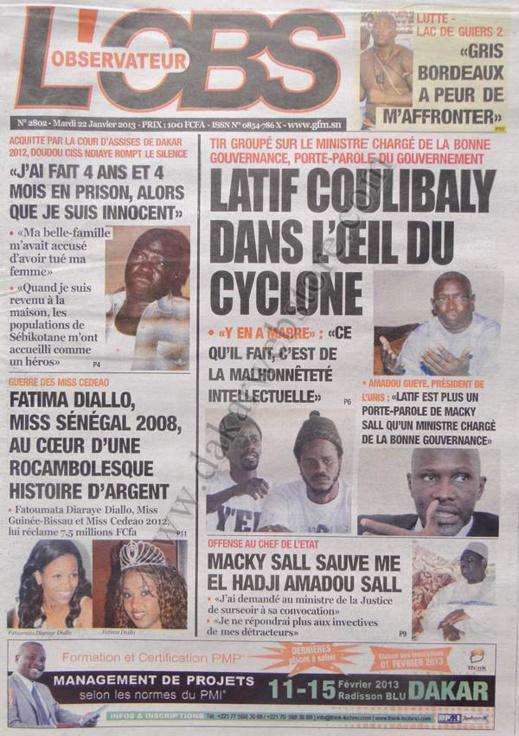A la Une du Journal L'Observateur du mardi 22 janvier 2013
